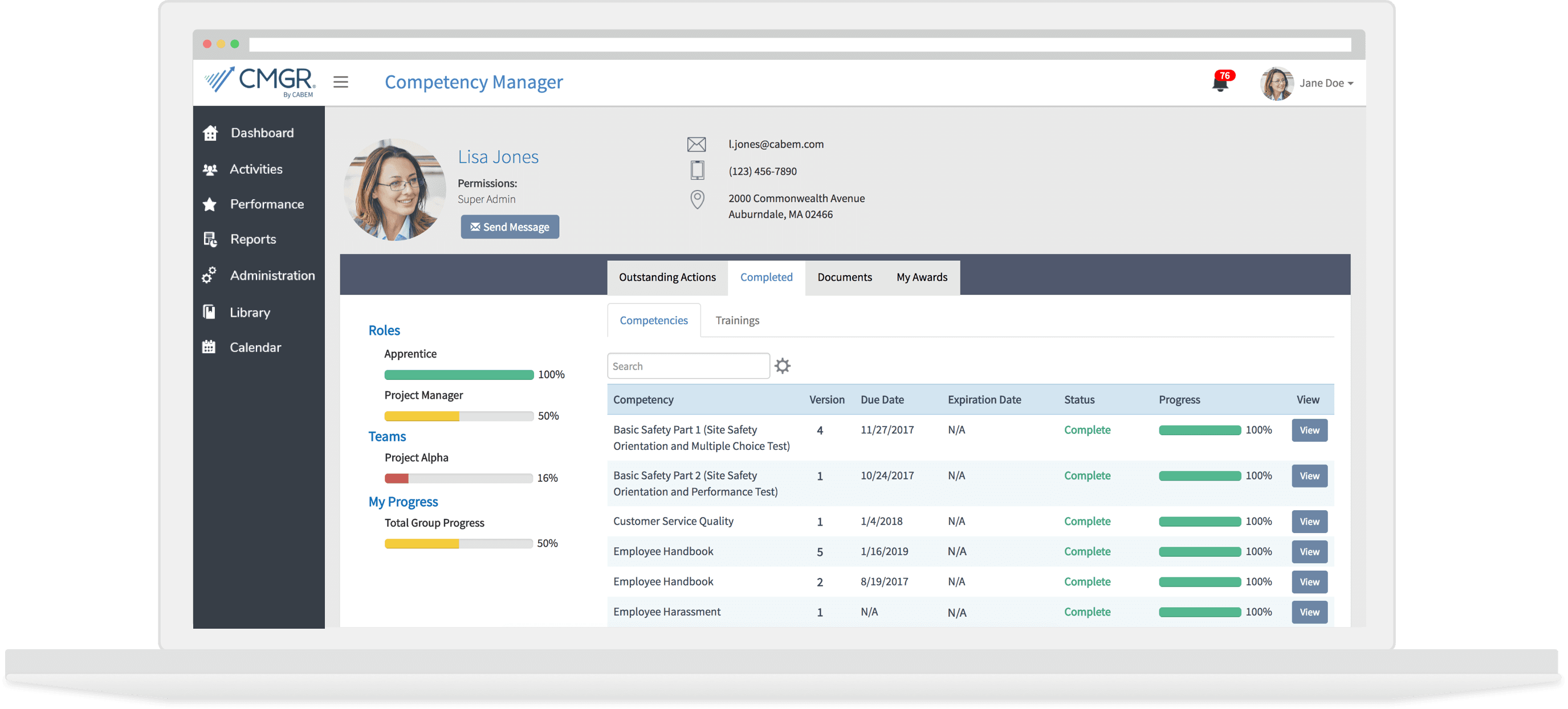 snapshot of the competency manager